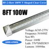 8Ft 100W V Integrated Tube Clear Cover