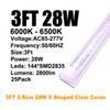 3FT 28W 2 행 클리어 커버 V 자형