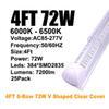 4 피트 72W V 클리어 커버 V가-모양의 모양