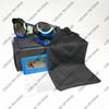 black frame ice blue lens
