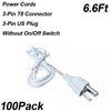 6.6ft 3-pimli güç kabloları anahtarsız