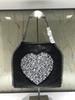 Corrente de prata em forma de coração preta