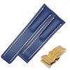 Buckle bleu-or1-22mm avec logo