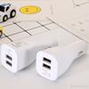 듀얼 USB 화이트 자동차 충전기
