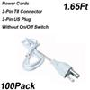 1.65ft 3-pin anahtarsız güç kabloları