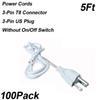 5ft 3-pimli güç kabloları anahtarı olmadan