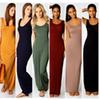 Stylish Women Vest Tank Maxi Dress Silk Stretchy Casual Summer Long Dresses Sleeveless Backless Lady Dress Clothing Newest F052