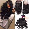 Brazilian Human Hair Weave Body Wave & Straight 3 Bundles With 360 Lace Frontal Closure Brazilian Peruvian Malaysian Indian Virgin Hair