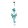 Brand New Fashion Belly Button Rings Stainless Steel Dangle 3 Color Rhinestone Butterfly Navel Body Piercing Jewelry