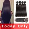 Mink Brazilian Virgin Hair Straight With Lace Closure 10A Grade Brazilian Straight Human Hair Weave 3 Bundles With Lace Closure