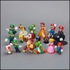 Prettybaby Super Mario Bros 18 pcs lot PVC Action Figure topper Super Mario NDS Luigi Peach yoshi figures Pt0064#