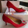 9 # 빨간색 9.5cm 발 뒤꿈치