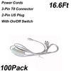 Anahtarlı 16.6ft 2 pinli güç kabloları
