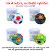 플라스틱 실린더에 4 가지 색을 섞으십시오