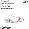 Switch ile 6ft 2-pin güç kabloları