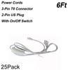 6FT 2-контактные шнуры питания с выключателем