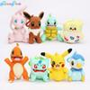 8pcs lot pikachu doll toy bulbasaur piplup charmander eevee mew squirtle plush stuffed pendant toy with hook