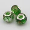"MIC 50pcs Green Gold Silver Foil Alphabet ""e"" lampwork Glass Large Hole Beads Fit Beaded Bracelet"