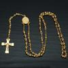 Men Fashion Gold Hip Hop Rosary Necklace Stainless Steel Cross Necklace High Quality Beaded Chains Religious Jewelry