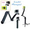 Sports Action Cam xiaomi yi extension pole arm 3-Way Grip Monopod Tripods For xiaoyi & Action Cam SJ4000 Camera Accessories
