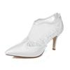 Middle Heel Nice Plain Lace Ankle Boot Ivory Color Pump Pointy Toe Elegant Style Bridal Shoe Wedding Dress Shoes Handmade Shoes for Wedding