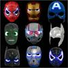 Avengers LED Flash Glowing Masks Super Hero Captain America Spiderman Iron Man Lighting Mask Kids Halloween Cartoon Party Mask