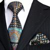 E10 Men's Ties Hanky Multicolor Black Blue Turquoise Floral Neckties Set 100% Silk Wholesale Free Shipping
