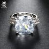 ORSA JEWELS 2018 Luxury Big Size 8 Ct Cushion Cut Cubic Zirconia Women Ring Lead&Nickel Free Silver Color Ring for Ladies OR100