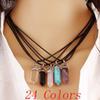Collier en cuir de pierre naturelle 24 couleurs
