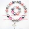 fashion jewelry white alloy ballet girl pendant pearl beads silver rhinestone beads chunky girl bubblegum kids Necklace&bracelet set
