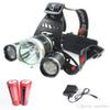 LED Headlight 3 LED Cree T6 Q5 Head Lamp High Power 4000LM Flashlight+18650 battery+Power supply Charger