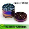 Beautiful 50mm 1.97 Inch Rainbow Grinders 4 Piece Grinder Zinc Alloy Metal Herb Grinder Top Quality Tobacco Herb Spice Crusher Fast Shipping