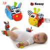New arrival sozzy Wrist rattle & foot finder Baby toys Baby Rattle Socks Lamaze Baby Rattle Socks and wristbands 3 Styles
