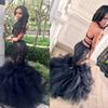 REAL IMAGE 100% Black Girls Mermaid Prom Dresses 2017 Sheer Lace Applique Sexy Backless Ruffles Skirt Formal Dresses Evening Gowns