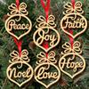 Christmas letter wood Heart Bubble pattern Ornament Christmas Tree Decorations Home Festival Ornaments Hanging Gift, 6 pc per bag
