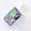 Luckyshine Two pieces lot Fashion Jewelry Wholesale 925 Silver Antique special Square Fire Mystic topaz crystal pendants for lady P0061