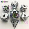 New High Quality Metalic 7 RPG Dice set d4 d6 d8 d10 d% d12 d20 side Poly dice playing funny Game with Boxes