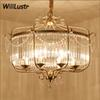 Willlustr round crystal chandelier Suspension lamp K9 crystal Pendant Light hanging lighting stair hotel hall lounge living room