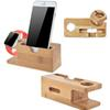 Vogue Safety Charging Holder Stand Bamboo Wood Base Bracket Docking Mount for Apple Watch iPhone 6 6Plus 6s 6s Plus