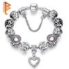 BELAWANG High Quality European Silver Heart Pendant Beads Bracelets&Bangles with Crystal Charm Beads for Women DIY Jewelry with Safe Chain