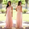Blush Pink Lace Chiffon Bridesmaid Dress 2018 Sheer Neck Lace Top Zipper Back Floor Length Maid of Honor Wedding Guest Dresses Cheap Long