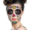 Halloween Day Of The Dead Dia de los Muertos Face Mask waterproof tattoo sticker for masquerade party beauty face makeup