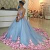 2017 Gorgeous Quinceanera Dresses vestidos festa 3D Floral Appliques Sleeveless Sweet 16 Dresses Ball Gown Prom Dress Custom Made