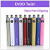 10 pcs EVOD Twist Battery for Electronic Cigarette Variable Voltage 3.2-4.8V 650mah 900mah 1100mah Compatible with all series eGo Kit