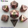 2015 NEW Top Quality Bronze Roe Gold Metal 7 Dice set d4 d6 d8 d10 d% d12 d20 d&d dungeons RPG Metal Dice with Boxes for Gift