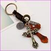 Leather Alloy Retro Christian Cross Keychain Key Ring Holder Charm, Car Keyring, Fashion Accessories Bag Pendant