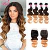 #1b 4 27 3 tone blonde ombre human hair weave cheap 8a brazillian body wave 4 bundles with closure wholesale unprocessed virgin human hair