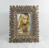 "4x6"" and 5x7"" Mahal Picture Frames Rectangle Golden Creative Resin Photo Frame With Fully Plume Along Edging Design"