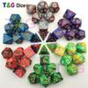 Top Quality 7pcs Mix color Dice Set with Nebula effect juegos de mesa dados dungeons and dragons rpg Dice Board game