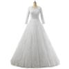 Bateau Neck Lace Tulle Wedding Dress With 3 4 Sleeves 2019 Appliques Wedding Gowns Lace Up